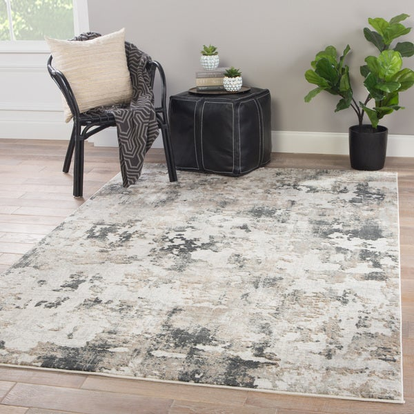 Benson Abstract White Grey Viscose Blend Area Rug 10 X27
