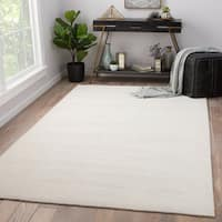 Phase Handmade Solid Ivory Area Rug - 9' x 12'