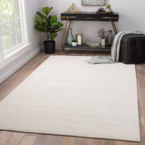 """Phase Handmade Solid Ivory Area Rug (9' x 12') - 8'10"""" x 11'9"""""""