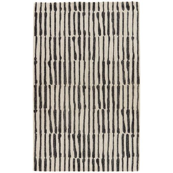 "Nikki Chu Saville White/Black Handmade Abstract Area Rug (9' x 12') - 8'10""x11'9"""