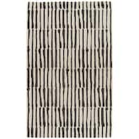 Nikki Chu by Jaipur Living Saville White/Black Handmade Abstract Area Rug - 9' x 12'