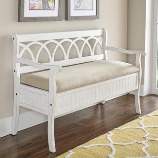 Powell Elliana White-finished Wood Flip-top Storage/Dining Bench