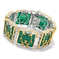 Michael Valitutti Palladium Silver Paris Green Chalcedony Metropolitan Link Bracelet