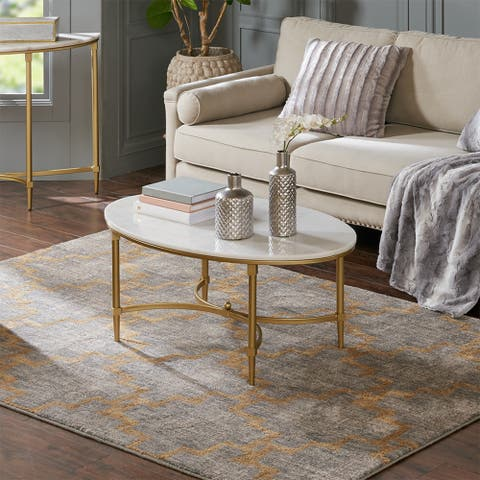 Madison Park Signature Bordeaux Goldtone Metal Oval Coffee Table with White Marble Top