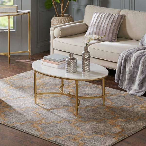 White Marble Coffee Table Set: Shop Madison Park Signature Bordeaux Goldtone Metal Oval