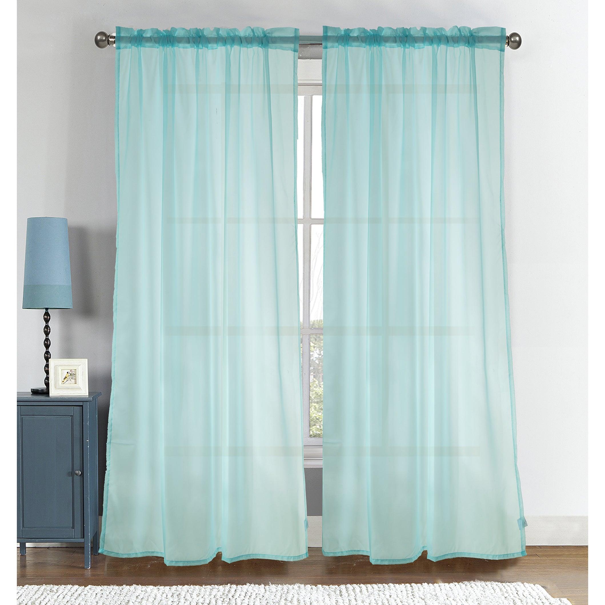 Ottomanson Sheer 84 Inch Rod Pocket Top Curtain Panel Pai...