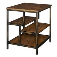 Powell Cortez Brown-Finished Wood Side Table