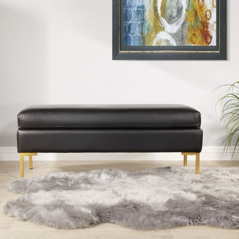 Silver Orchid Inyo Faux Leather Bench with Gold-coated Legs