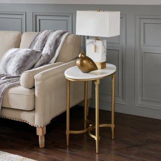 Madison Park Signature Bordeaux Gold Finished Metal Oval End Table With  White Marble Tabletop
