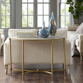 Madison Park Signature Bordeaux White/Gold-tone Marble/Metal Console Table