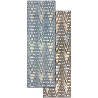 "Superior Designer Arete Blue or slate Area Rug collection (2'7"" X 8') - 2'7"" x 8'"