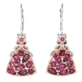 Michael Valitutti Palladium Silver Pink Tourmaline Cluster Drop Earrings