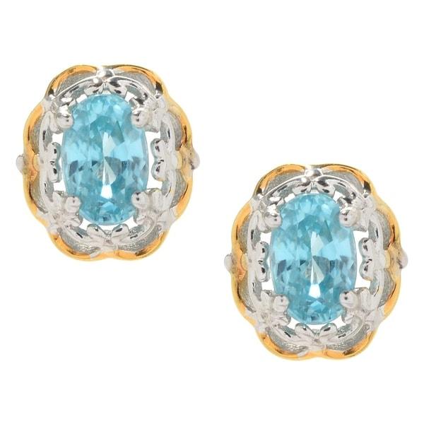 Michael Valitutti Palladium Silver Exotic Blue Zircon Flower Stud Earrings
