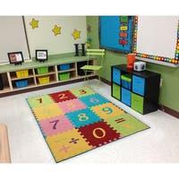 "Ottomanson Multicolor Numbers Design Children Kid's Play Area Rug (3' x 5') - multi-color - 3'3"" x 5'"