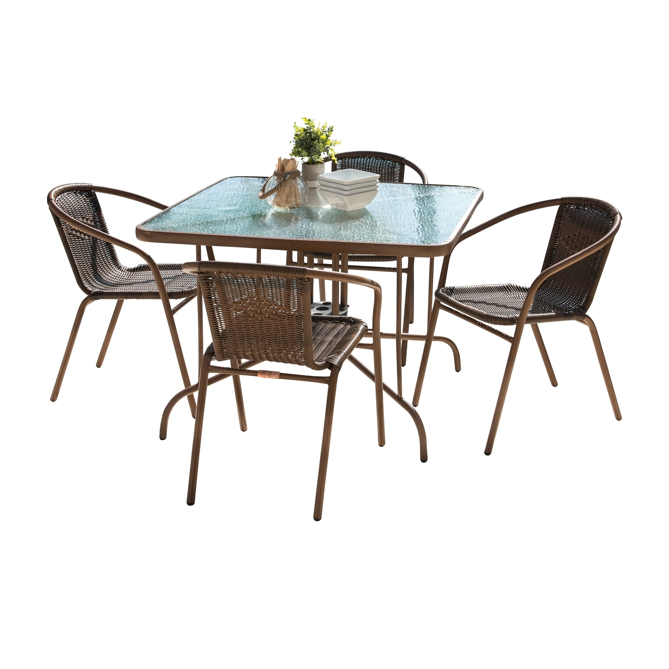 Details About Panama Jack Cafe 5 PC Woven Dining Set Brown