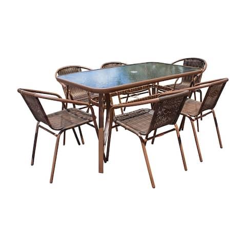 Panama Jack Cafe 7 PC Woven Dining Set
