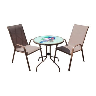 Panama Jack Cafe 3 PC Parrot High back Sling Bistro Set