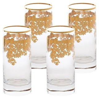 Set of 4 Embellished 24K Gold Crystal High Ball Tumbler-Made In Italy