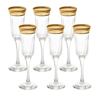 Flute Set of 6 Melania Collection Amber