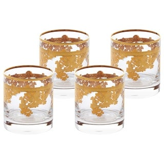 Set of 4 Embellished 24K Gold Crystal Double Old Fashion-Made In Italy