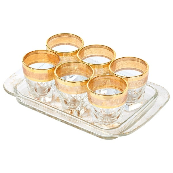 Tray Set 7 Piece Shots with Tray Amber Color