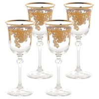 Set of 4 Embellished 24K Gold Crystal White Wine Goblets-Made In Italy