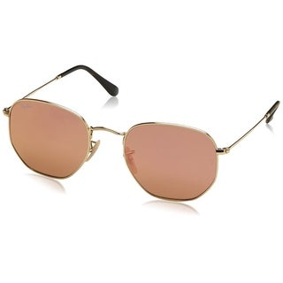 Ray-Ban Men's RB3548N Hexagonal Gold Frame Copper Flash 48mm Lens Sunglasses