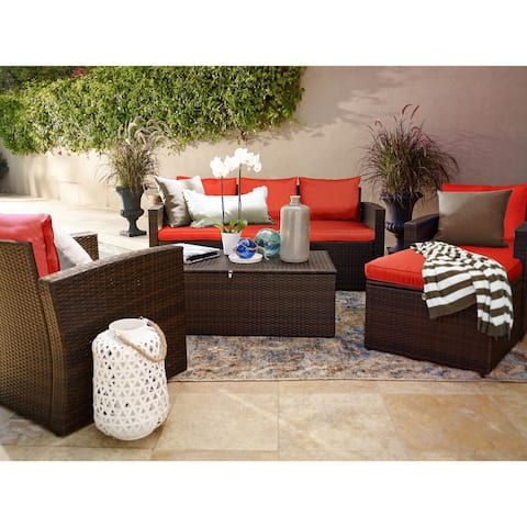 Rio 5 Piece All-Weather Wicker Conversation set with Storage and Ottoman