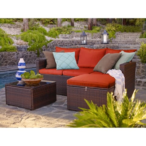 Rio 3 Piece All-Weather Wicker Conversation set with Storage
