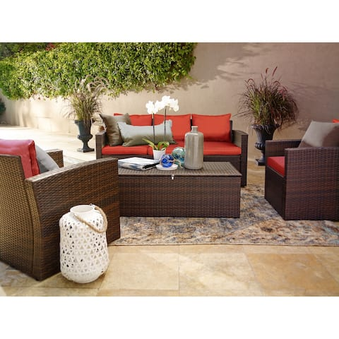Rio 4 Piece All-Weather Wicker Conversation Set with Storage