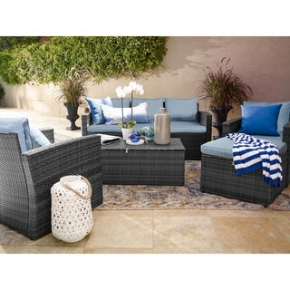 Russ160 Rio All-weather 5-piece Conversation Patio Set With Storage and Ottoman