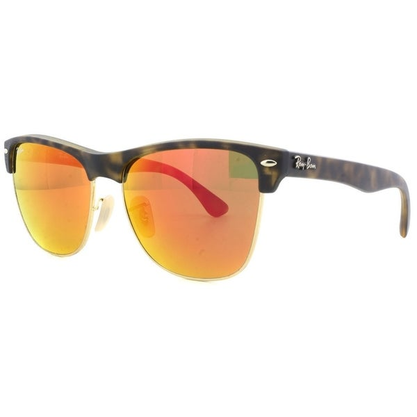 d9bb90f0be Ray-Ban Men  x27 s RB4175 Clubmaster Oversized Tortoise Frame Red Mirror  57mm