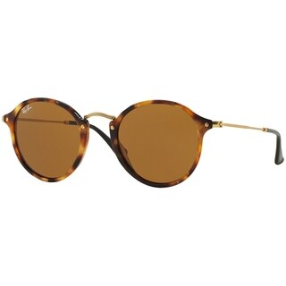 Ray-Ban Unisex RB2447 Round Fleck Tortoise/Gold Frame Brown Classic 49mm Lens Sunglasses
