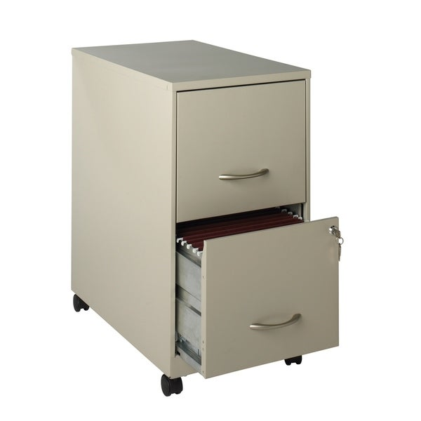 E Solutions 22 Deep 2 Drawer Metal Mobile File Cabinet