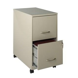 "22"" 2-Drawer Metal File Cabinet with Wheel Kit - Stone"