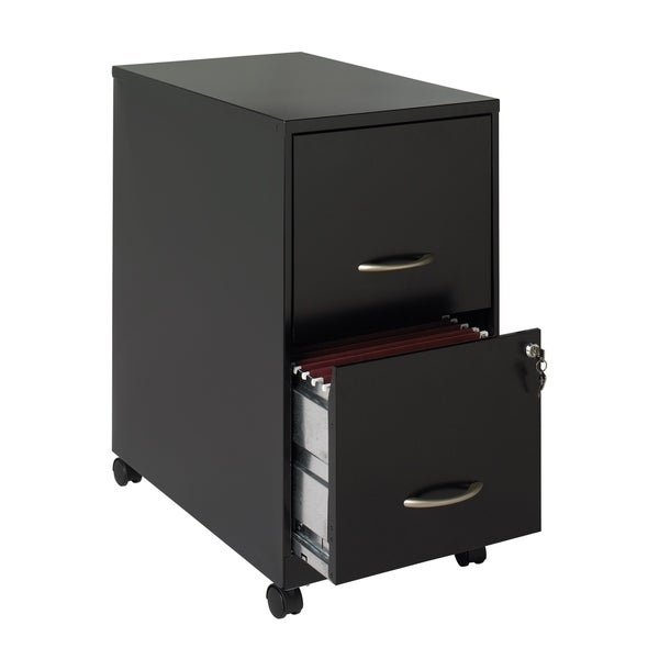 "Space Solutions 22"" Deep 2-drawer Metal Mobile File Cabinet, Black"