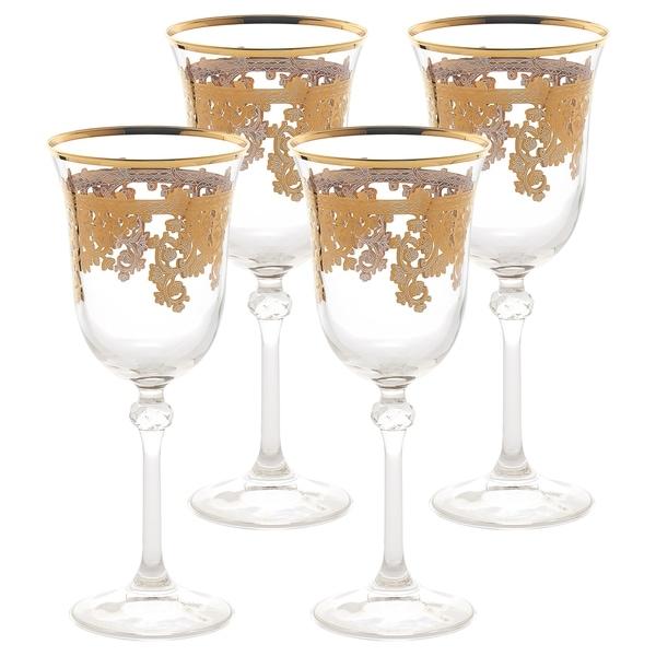 Set Of 4 Embellished 24k Gold Crystal Red Wine Goblets Made In Italy