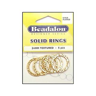 Beadalon Solid Ring 24mm Gold Plated 5pc