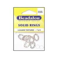 Beadalon Solid Ring 11X16 Slvr Plated 7pc