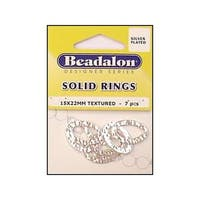 Beadalon Solid Ring 15x22 Silver Plated 7pc