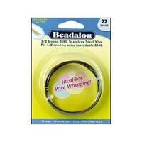 Beadalon S Steel Wire Coil 1/2Rnd 316L 22Ga 15M