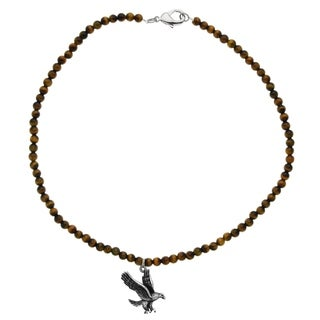 Handcrafted Tigers Eye Bead Necklace With Eagle