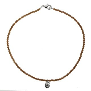 Handcrafted Cat's Eye Bead Necklace With Celtic Frog