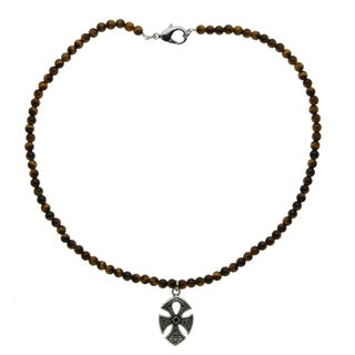 Handcrafted Tigers Eye Bead Necklace With Celtic Ankh