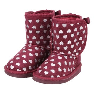 Kids Shimmer Faux Suede Sherpa Lined Winter Boot - Foil Heart Pattern