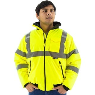 Majestic Glove 75-1300 PU Coated Polyester High Visibility Bomber Jacket with Fix Quilted Liner, Yellow