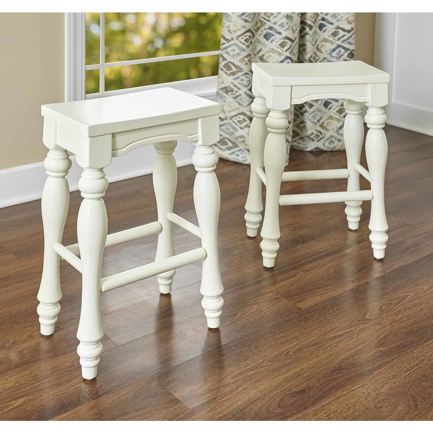 Powell Pennfield White Wooden Counter Stool