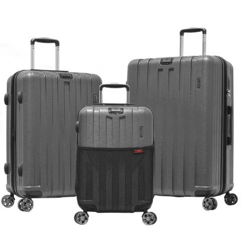 """Olympia """"Sidewinder"""" 3-Piece 21in/25in/29in Hardside Lightweight 4-Wheel Spinner Luggage Set W/Hidden Compartment"""