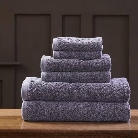 Miranda Haus 100% Cotton Jacquard 6-piece Denim Wash Towel Set - N/A
