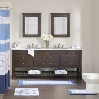 Madison Park Callia Blue Embroidered Cotton Tufted Rug